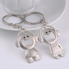 2x Couple Key Chain Ring Boy & Girl Keychain Couples Keyring Set Bottle Opener