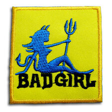 Bad Girl Evil Patch Iron on Harley Bitch Biker Rock Punk Lady Rider Tattoo Race