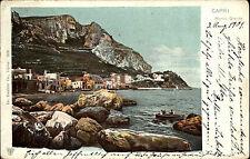 Capri Italien Italia Golf von Neapel AK 1901 Marina Grande Hafen Porto Strand