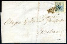 Austria 1856 n. 5b azzurro verdastro II Tipo - su busta viaggiata (m859)