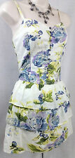 FIRE LOS ANGELES BLUE ROSE FLORAL TIERED SHORT SUMMER Sun DRESS S SMALL