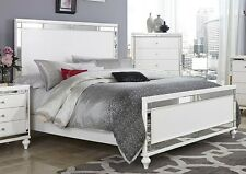 GLITZY 4 PC WHITE MIRRORED QUEEN BED N/S DRESSER & MIRROR BEDROOM FURNITURE SET