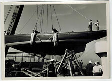 Real Photo, Loading of Yacht Brema to S/S Europa, taken during NDL cruise,1930s