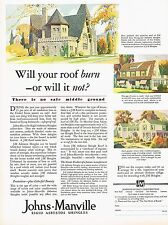1920's BIG Vintage Johns Manville Asbestos Roofing Shingles House Art Print Ad