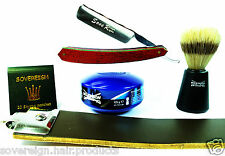 MENS SHAVING SET. 5 PIECE CUT THROAT RAZOR GIFT SET..fAST & FREE POSTAGE
