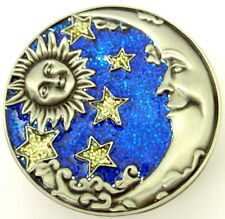 New Sun Crescent Smiling Moon Glitter Stars Trinket Box Pewter Enamel Blue Sky