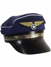 AIRLINE PILOT AVIATOR PARTY COSTUME HAT NAVY BLUE CAP - ADULT SIZE