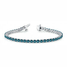 2.43 Carat Blue SI1 Round Diamond In Line Prong Set Bracelet14k WG For Women