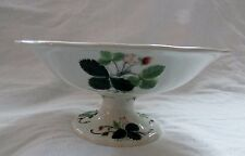 """Antique Creil and Montereau Earthenware 8.5"""" Compote Fruit Strawberry Blossom"""
