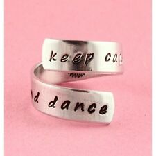 Keep Calm and Dance Twist Ring Adjustable Wrap Hand Stamped Ring Ballet