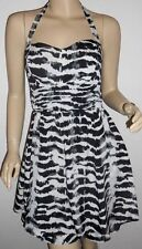 Guess Veronica Womens Jet Black White Lined Abstract Chiffon Halter Dress 8