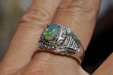1 CT NATURAL CRYSTAL OPAL .925 STERLING SILVER MENS RING ANTIQUE STYLE SIZE 10