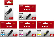 5 x Canon Genuine PGI-650XL Black CLI-651XL Cyan Magenta Yellow Ink Cartridges