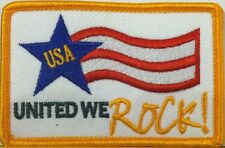 USA UNITED WE ROCK!  Embroidery Patch Iron-On Gold Border