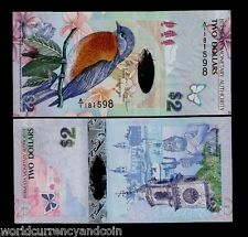 BERMUDA 2 DOLLARS P57 2009 A/1 Hybrid POLYMER BIRD BUTTERFLY ANIMAL UNC BANKNOTE