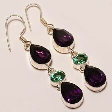 SHINING AFRICAN AMETHYST & APATITE QUARTZ .925 SILVER JEWELRY EARRING 2.6""