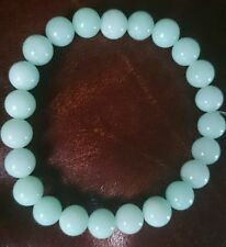 UK NEW UNIQUE 8MM BEAD AMAZONITE STRETCH BRACELET APPROX 7 1/2 INCHES