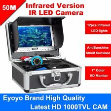 "50M Infrared 1000TVL Fish Finder Underwater Fishing Camera 7"" Sunvisor Monitor"