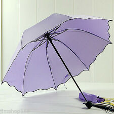 Windproof Flouncing Folding Lotus Leaves Princess Dome Parasol Sun/Rain Umbrella