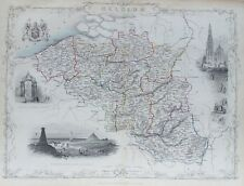 OLD ANTIQUE MAP BELGIUM by TALLIS / RAPKIN c1850's ANTWERP BRUSSELS VIEWS