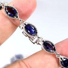 Sterling Silver 925 Genuine Marquise Blue Violet Iolite Bracelet 6.5 Inch