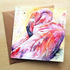 Flamingo-En Blanco Arte Cumpleaños tarjeta de saludos – Rockabilly Acuarela - 4 De 3
