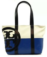NWT TORY BURCH Small Dipped Beach Tote, Multi-Color Natural/Tory Navy/jelly blue