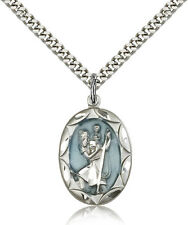 "Saint Christopher Medal For Men - .925 Sterling Silver Necklace On 24"" Chain ..."