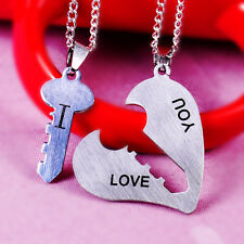 I Love You Lock Key Heart His Hers Lover Couple Pendant Necklace Stainless Steel