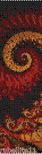 Red Spiral Peyote Cuff Beaded Bracelet Pattern by Karen Zumbrun
