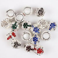 12x 152794 Rhinestone Mixed Charms Alloy Beads Fit European Bracelets Findings