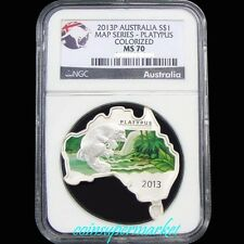 2013P Australia Map Shaped Series #4 Platypus 1oz Silver Colorized Coin NGC MS70