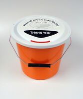 10 Charity Fundraising Money Collection Buckets with Lids, Labels & Ties-Orange