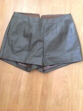 FANTASTIC RYU KHAKI FAUX LEATHER HOT PANTS UK SIZE 12 NWOT
