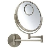 "Jerdon JP7510N 8"" Makeup Wall Mount Mirror, Nickel, 10X Optics, 15X Spot"