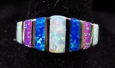 "Silver 925 Filled Size 9 Ring Pink White Blue Baguette Cut Fire Opal  5/16"" Wide"