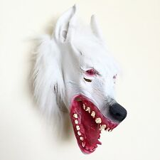 New WEREWOLF LATEX MASK  [White] FULL HEAD, HALLOWEEN FANCY DRESS SCARY UK