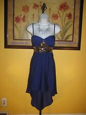 NWT  bebe 2b Isabelle Sequin Hi-Lo Royal Blue Maxi Dress Size M