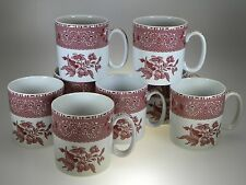 Spode Pink Camilla Mugs Set of 8 Made in England NEVER USED!!!
