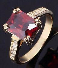 Percious AAA Jewellry For Woman Size 9 Halo Garnet 18K Gold Filled Wedding Rings