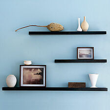 BLACK 90x20x4cm Wall Mounted High Gloss Floating Shelving Storage Decor Display