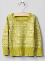 GAP Baby / Toddler Girl 18-24 Months NWT Yellow / Green Fair Isle Knit Sweater