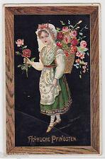 Fröhliche Pfingsten Blumen Mädchen Präge Lack AK 1912