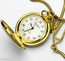Philip Mercier Gents Gold Tone Pocket Watch, Easy To Read, With Chain & Gift Box