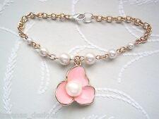* Blush Flor Flor Perla * Rose Oro Plateado Pulsera del encanto de estilo vintage de melocotón