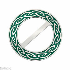 Celtic Annulus (60) Round GreenEnamel Scarf Ring