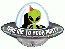 "29"" FOIL SUPER-SHAPE BALLOON ""TAKE ME TO YOUR PARTY"" SPACESHIP ALIEN ENCOUNTER"