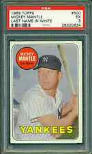 1969 TOPPS #500 MICKEY MANTLE LAST NAME IN WHITE PSA 5 EXCELLENT