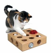 Cat Pet Peek Play Pop Up Catnip Toy Fun Activity Game Cube Solid Box Holes
