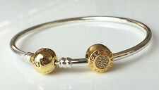 New PANDORA Iconic Silver Bangle Set 19cm 24K Gold Plated B800207-19 Authentic